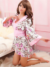 AF-S2-588807 Halloween Sexy Geisha Costume Multicolor Kimono Floral Print Trendy Polyester Costume For Women