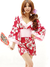 Anime Costumes AF-S2-588801 Halloween Sexy Geisha Costume Red Kimono Floral Print Polyester Costume For Women