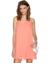 Shift-de-rosa vestido tiras verão do Chiffon Backless Dress