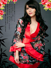 AF-S2-588777 Halloween Sexy Geisha Costume Multicolor Kimono Floral Print Bow Polyester Costume For Women