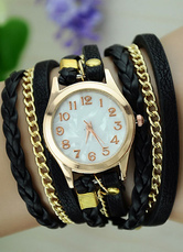 Black Watch Chain Link Knitted Strap Metal Watch for Women
