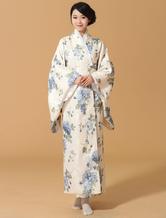Anime Costumes AF-S2-589265 Halloween Kimono Dress Japanese Yukata Light Blue Floral Print Costume for Women