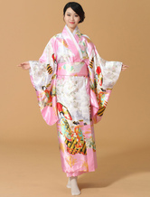 AF-S2-589267 Pink Kimono Floral Print Silk Japanese Costume for Women