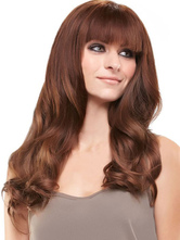 AF-S2-589821 Chestnut Brown Wig Blunt Bangs Long Curly Fiber Wig for Women