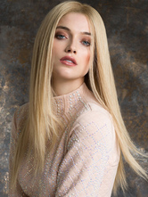 AF-S2-589827 Light Gold Wig Middle Parted Long Straight Fiber Wig for Women