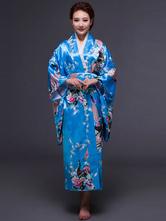 Anime Costumes AF-S2-589257 Blue Kimono Print Silk Costume for Women
