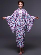 Anime Costumes AF-S2-589261 Halloween Kimono Dress Purple Japanese Yukata Floral Print Costume for Women