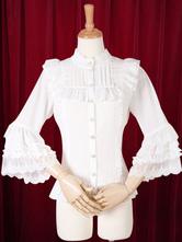 Lolitashow White Lolita Blouse Ruffles Cotton Flax Blouse for Women