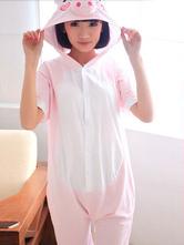 AF-S2-589899 Kigurumi Pajamas Pig Onesie Pink Hooded Cotton Costume