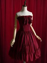 Lolitashow Bourgogne Lolita Robe Bow dentelle sans bretelles robe de coton