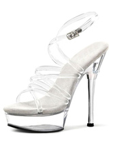 Plataforma transparente sandalias correas PVC tacones para las mujeres