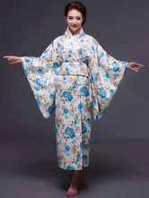 AF-S2-589259 Multicolor Kimono Floral Print Silk Chic Costume for Women