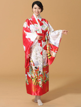 AF-S2-589273 Red Multicolor Kimono Floral Print Silk Japanese Costume for Women