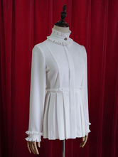Lolitashow White Lolita Blouse Pleated Chic Cotton Blouse for Women