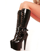 Black Boots Sky High Platform Lace Up Patent PU Heels for Women