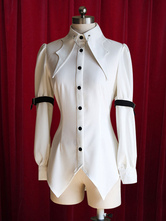 Lolitashow White Lolita Blouse Buttons Trendy Cotton Blouse for Women