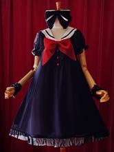 Lolitashow Navy Lolita Dress Bow A-Line Chiffon Dress for Women