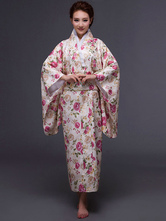 Anime Costumes AF-S2-589263 Halloween Kimono Dress Beige Japanese Yukata Floral Print Costume for Women