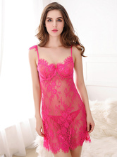 Rose Red Babydoll Straps Lace Semi-Sheer Chemise for Women
