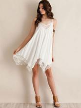White Shift Dress Straps Lace Asymmetric Summer Dress