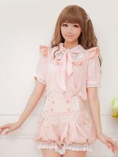 Lolitashow Pink Lolita Shorts Ruffles Suspender Synthetic Shorts For Women