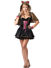 Anime Costumes AF-S2-590945 Halloween Black Demon Costume Leopard Print Polyester Devil Costume for Women