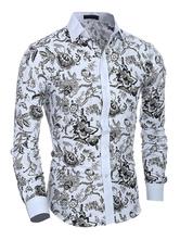 Camisa multicolor algodón impresión Floral elegante camisa para hombres