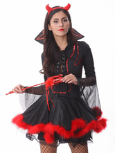 Anime Costumes AF-S2-590947 Halloween Black Demon Costume Fur Polyester Devil Costume for Women