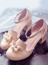 Lolitashow Pink Lolita Sandals Pearl Bow PU Heels for Women