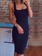 Vestido Ajustado Escote De Halter Blanco/Negro Vestido De Mujer