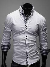 White Shirt Plaid Slim Fit Cotton Shirt for Men