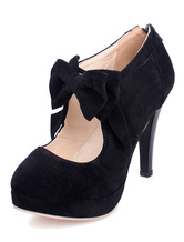 Black High Heels Suede Platform Round Toe Bow-Adorned Mary Jane Shoes