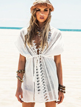 White Cover Up Semi-Sheer Chic Cotton Cover Up for Women