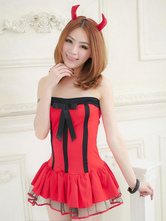 Anime Costumes AF-S2-590937 Halloween Red Demon Costume Strapless Bow Polyester Devil Dress