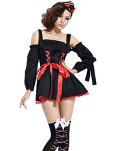 Anime Costumes AF-S2-590941 Halloween Black Demon Costume Straps Bow Polyester Devil Costume for Women