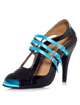 Venta para barato Sandalias Peep Toe de baile negro esmaltado PU tacones para las mujeres Compre un precio barato SU6DYpljAq
