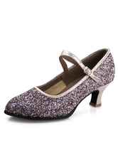 Silver Ballroom Shoes Glitter Round Toe Vintage Mary Jane Shoes Latin Dance Shoes