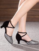 Zapatos de bailes latinos Tela-brillantes de tacón de kitten para baile latino de puntera redonda hqpBF
