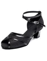Peep Toe Latin Dance sandalias negro correas brillo tacones para las mujeres