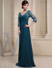Inchiostro blu abito da sera pizzo Applique perline V collo mezza maniche A linea Wedding Party Dress