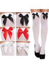 Meias de Cosplay empregada Bowknot joelho alto branco e preto Halloween