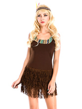 Anime Costumes AF-S2-595051 Halloween Indian Aborigines Costume Brown Fringe Polyester Costume for Women