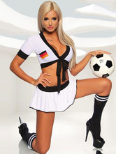 Anime Costumes AF-S2-595097 Halloween German Football Cheering Squad Costume White Crop Print Polyester Costume for Women