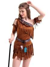 Anime Costumes AF-S2-595065 Halloween Indian Aborigines Costume Brown One-Shoulder Fringe Polyester Costume for Women