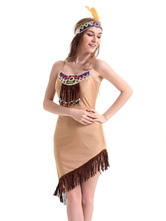 Anime Costumes AF-S2-595063 Indian Aborigines Costume Multicolor Asymmetric Fringe Polyester Costume for Women