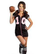 Anime Costumes AF-S2-595091 Halloween Rugby Player Costume Black Print Polyester Costume for Women