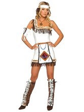 Anime Costumes AF-S2-595055 Halloween Native American White One-Shoulder Indian Ladies Wild West Costume
