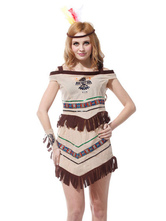 Anime Costumes AF-S2-595057 Halloween Native American Indian Ladies Wild West Fringe Polyester Costume