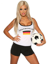 Anime Costumes AF-S2-595093 Halloween German Football Cheering Squad Costume White Print Polyester Costume for Women