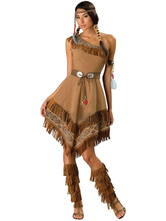 Anime Costumes AF-S2-595111 Indian Aborigines Dress Brown One-Shoulder Polyester Costume for Women